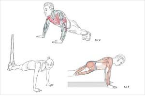 Spojení core trainingu (a) s TRX systémem (b)